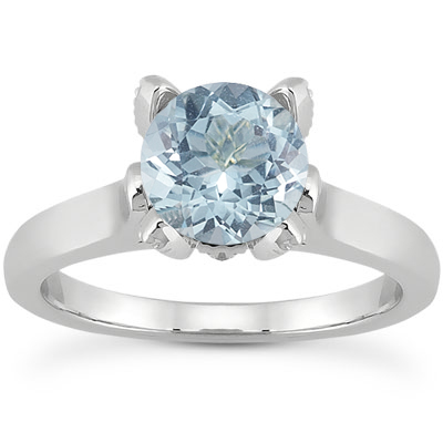 Aquamarine and Diamond Accent Solitaire Engagement Ring