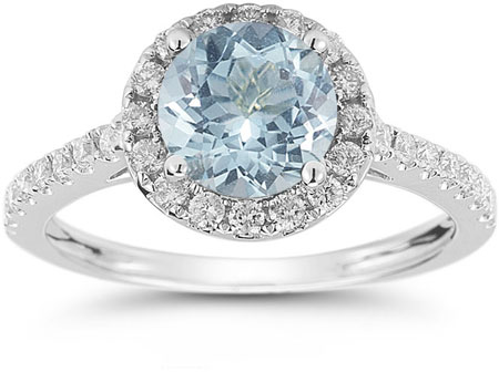Aquamarine and Diamond Halo Gemstone Ring in 14K White Gold