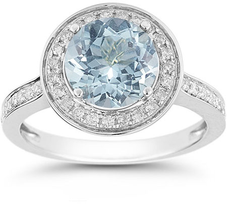 Aquamarine and Diamond Halo Ring in 14K White Gold