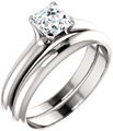 Asscher-Cut 3/4 Carat Diamond Bridal Wedding Ring Engagement Set