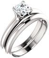 Asscher-Cut 3/4 Carat Diamond Bridal Wedding Ring Engagement Set