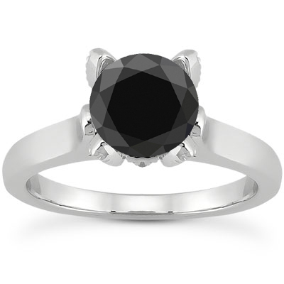 0.86 Carat Black and White Diamond Accent Solitaire Engagement Ring