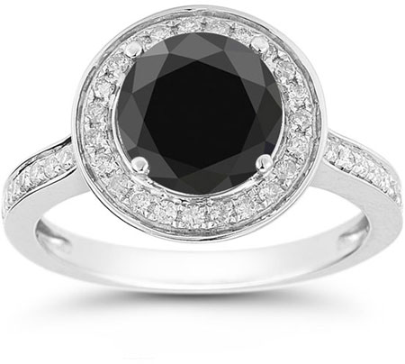 Black and White Diamond Halo Ring in 14K White Gold