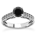 1 Carat Black Diamond Heart Engagement Ring