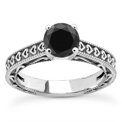 1/2 Carat Black Diamond Heart Engagement Ring
