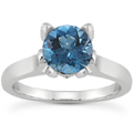 0.61 Carat Blue and White Diamond Accent Solitaire Engagement Ring