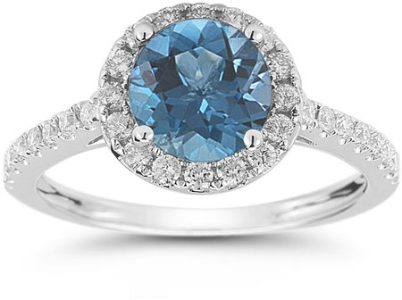 Blue  and White Diamond Halo Ring in 14K White Gold
