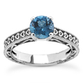 1/2 Carat Blue Diamond Heart Engagement Ring