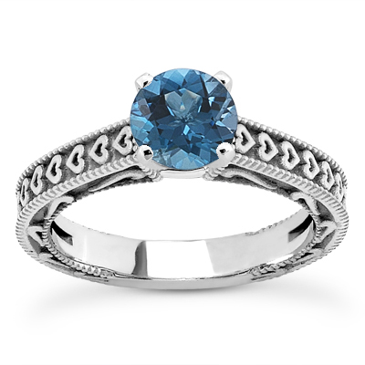 1 Carat Blue Diamond  Heart Engagement Ring