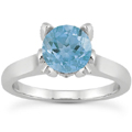 Blue Topaz and Diamond Accent Solitiare Engagement Ring