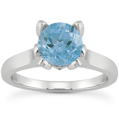 Blue Topaz and Diamond Accent Solitaire Engagement Ring