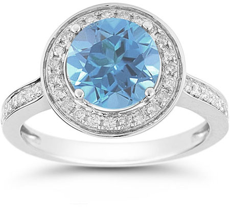 Blue Topaz and Diamond Halo Ring in 14K White Gold