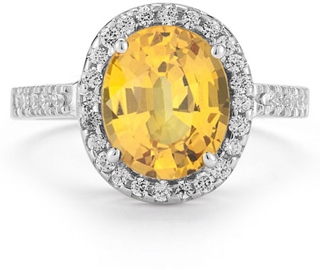 Citrine and Diamond Cocktail Ring in 14K White Gold