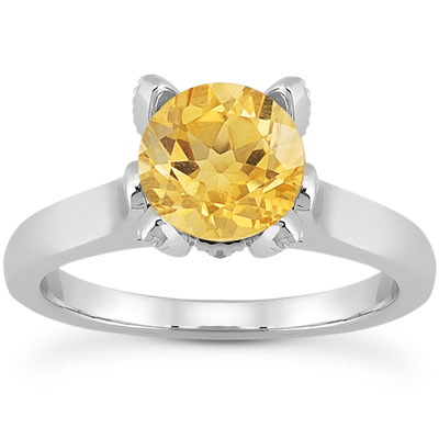 Citrine and Diamond Accent Solitaire Engagement Ring