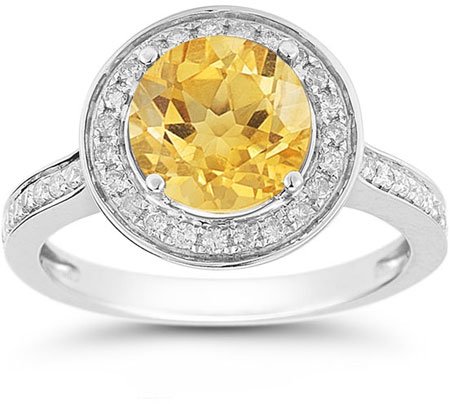 Citrine and Diamond Halo Ring in 14K White Gold