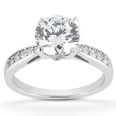 1 1/2 Carat CZ Classic Engagement Ring in 14K White Gold