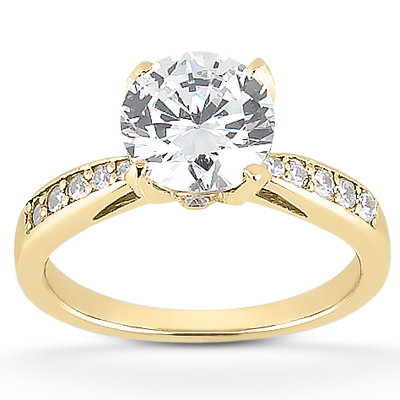 1 50 Carat CZ Classic Engagement Ring in 14K Yellow Gold