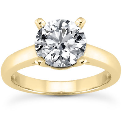 1.50 Carat Classic CZ Solitaire Engagement Ring in 14K Yellow Gold