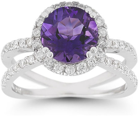 Criss-Cross Pave Amethyst and Diamond Halo Ring