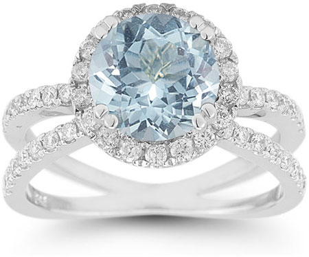 Pave Diamond Criss-Cross Aquamarine and Diamond Halo Ring