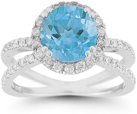 Criss-Cross Pave Diamond and Blue Topaz Ring