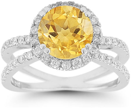 Criss-Cross Pave Diamond and Citrine Halo Ring