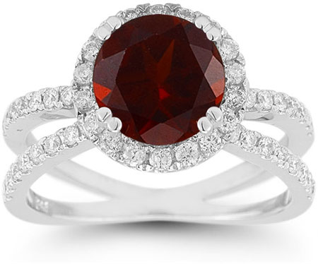 Pave Diamond Criss-Cross and Garnet Halo Ring