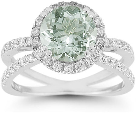 Criss-Cross Pave Diamond and Green Amethyst Halo Ring