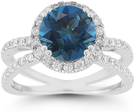 Pave Diamond Criss-Cross London Blue Topaz Halo Ring