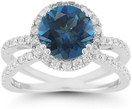 Pave Diamond Criss-Cross London Blue Topaz Halo Ring