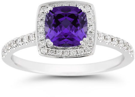 Cushion-Cut Amethyst Halo Ring