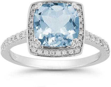Aquamarine and Pave Diamond Halo Ring in 14K White Gold