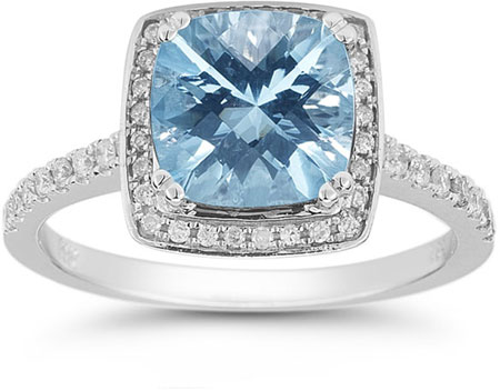 Blue Topaz and Pave Diamond Halo Ring in 14K White Gold
