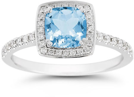 Cushion-Cut Blue Topaz Halo Ring