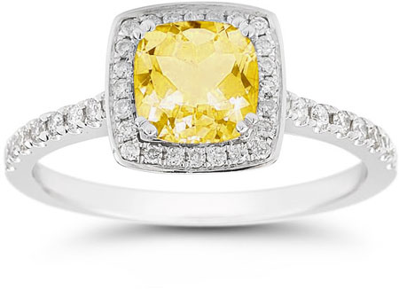 Cushion-Cut Citrine Halo Ring