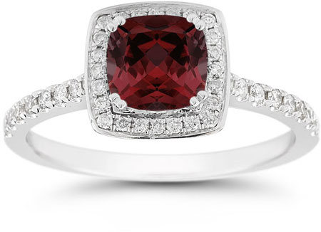 Cushion-Cut Garnet Halo Ring