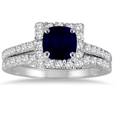 Cushion-Cut Genuine Sapphire and Diamond Halo Ring in 14K White Gold