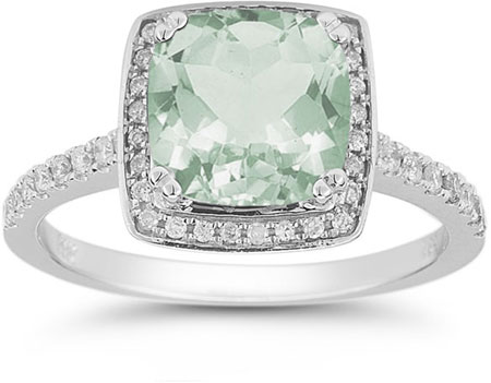 1930s Jewelry Styles and Trends Green Amethyst and Pave Diamond Halo Ring in 14K White Gold $1,125.00 AT vintagedancer.com