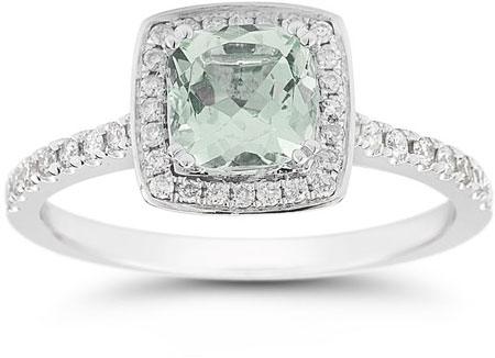 Cushion-Cut Green Amethyst Halo Ring