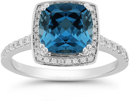 London Blue Topaz and Pave Diamond Halo Ring in 14K White Gold
