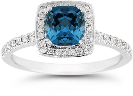 Cushion-Cut London Blue Topaz Halo Ring