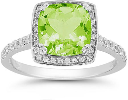 Peridot and Pave Diamond Halo Ring in 14K White Gold