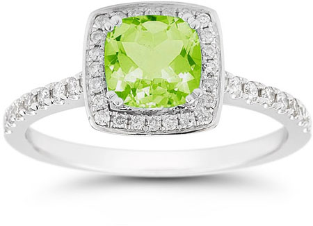 Cushion-Cut Peridot Halo Ring