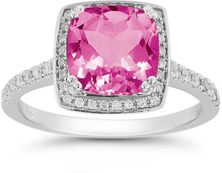Pink Topaz and Pave Diamond Halo Ring in 14K White Gold
