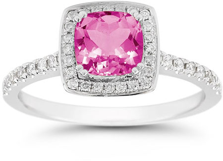 Cushion-Cut Pink Topaz Halo Ring, 14K White Gold