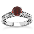 Engraved Hearts Garnet Ring