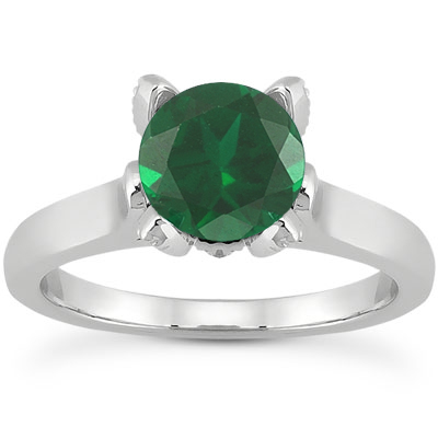 Emerald and Diamond Accent Solitaire Engagement Ring