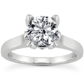 Cubic Zirconia Solitaire Engagement Ring, 14K White Gold