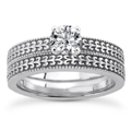 1/3 Carat Engraved Engagement Ring Set in 14K White Gold