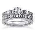 1/4 Carat Engraved Bridal Ring Set in 14K White Gold